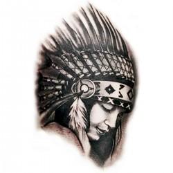Tatoo temporaire squaw chef N&B