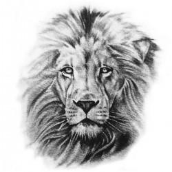 Tatoo temporaire tête de lion N&B