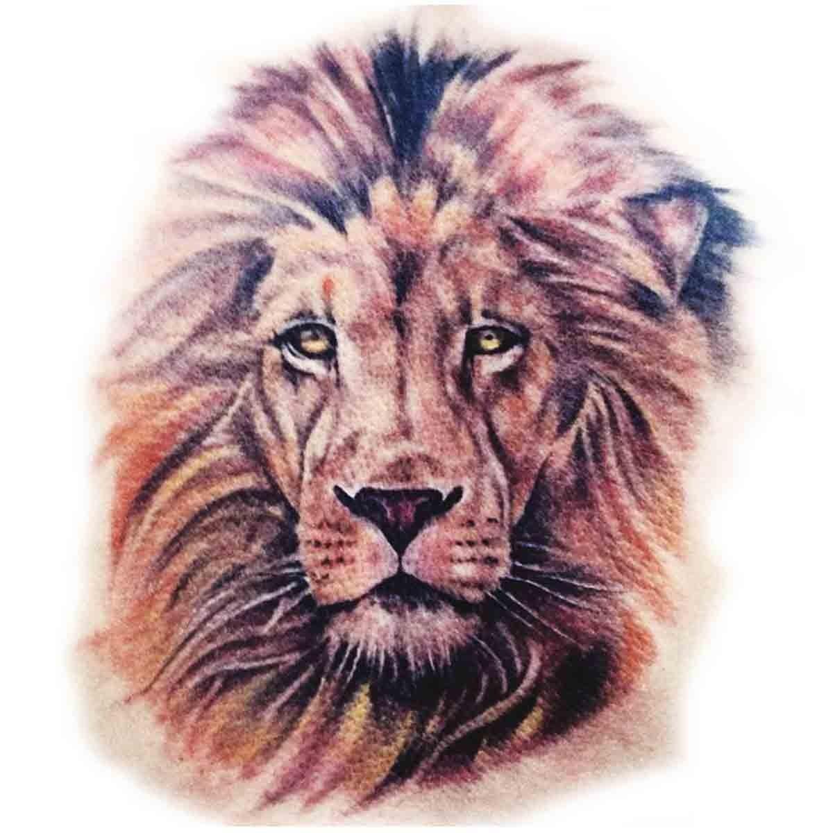 Tatoo temporaire t te de lion couleur - Tete de lion dessin facile ...