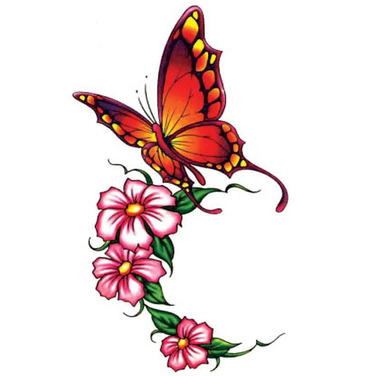 tatoo temporaire papillon et fleurs roses. Black Bedroom Furniture Sets. Home Design Ideas