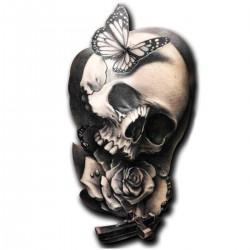 Tatoo temporaire crâne et chapelet