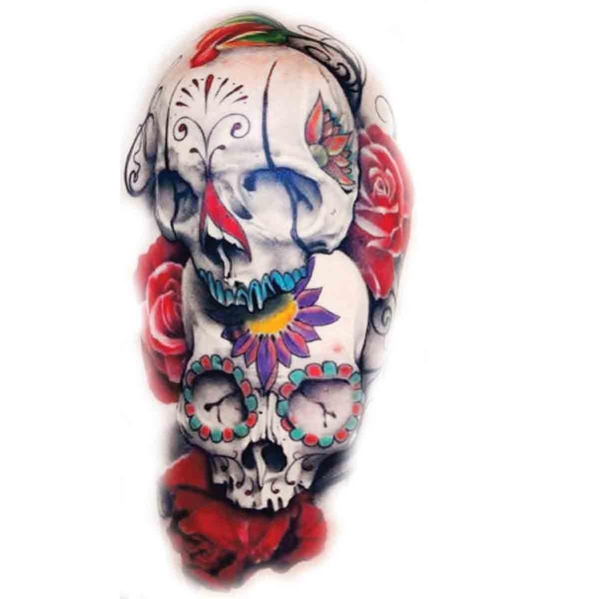 Tatoo Temporaire Crâne Mexicain Coloré