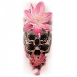 Tatoo temporaire crâne orchidées