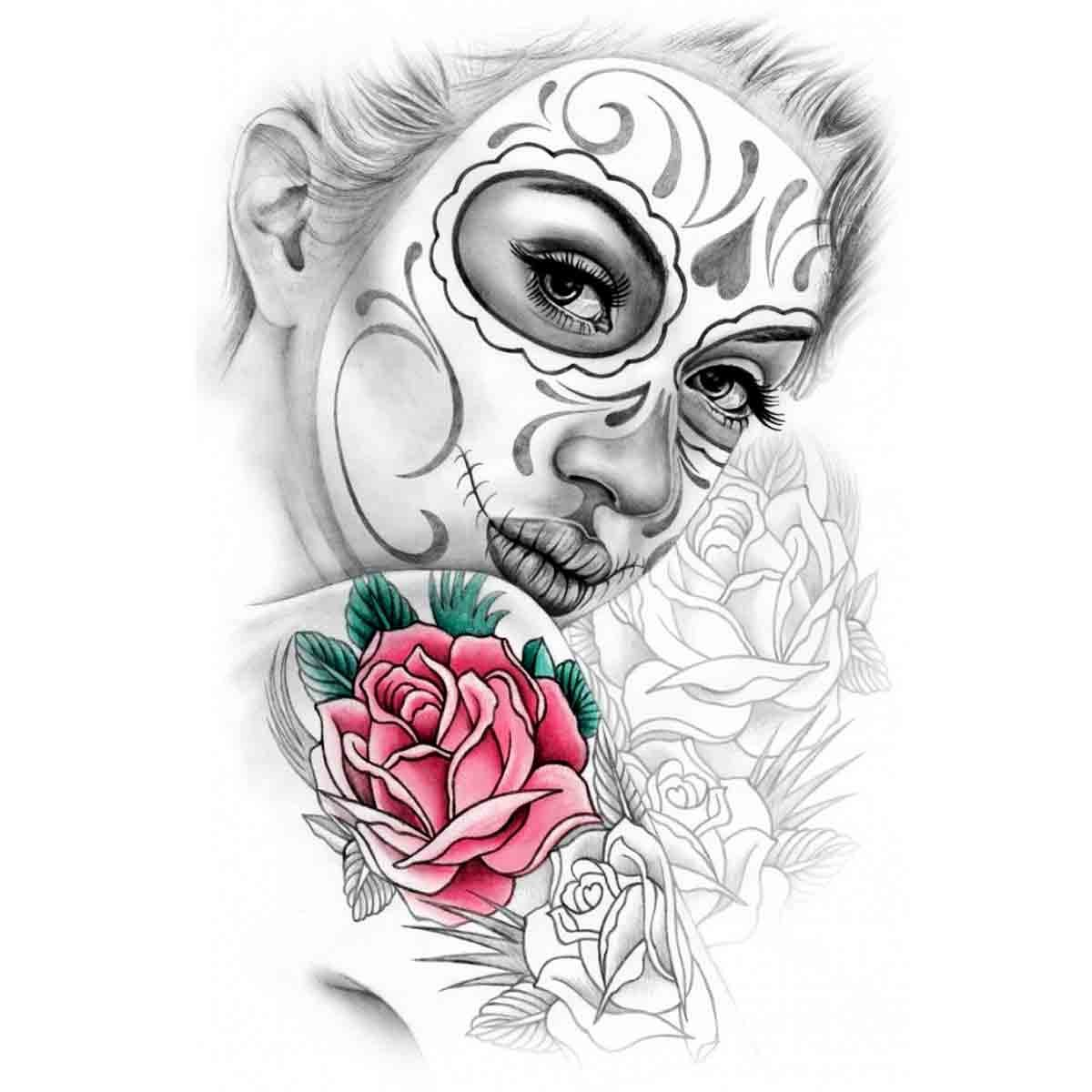 Tatoo temporaire esquisse femme maquillage mexicain - Maquillage mexicain facile ...