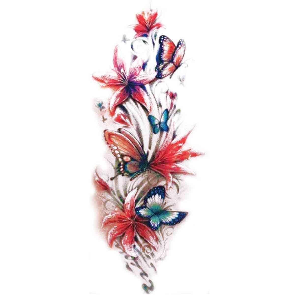 Tattoos temporaires fleurs et papillons - Image papillon et fleur ...