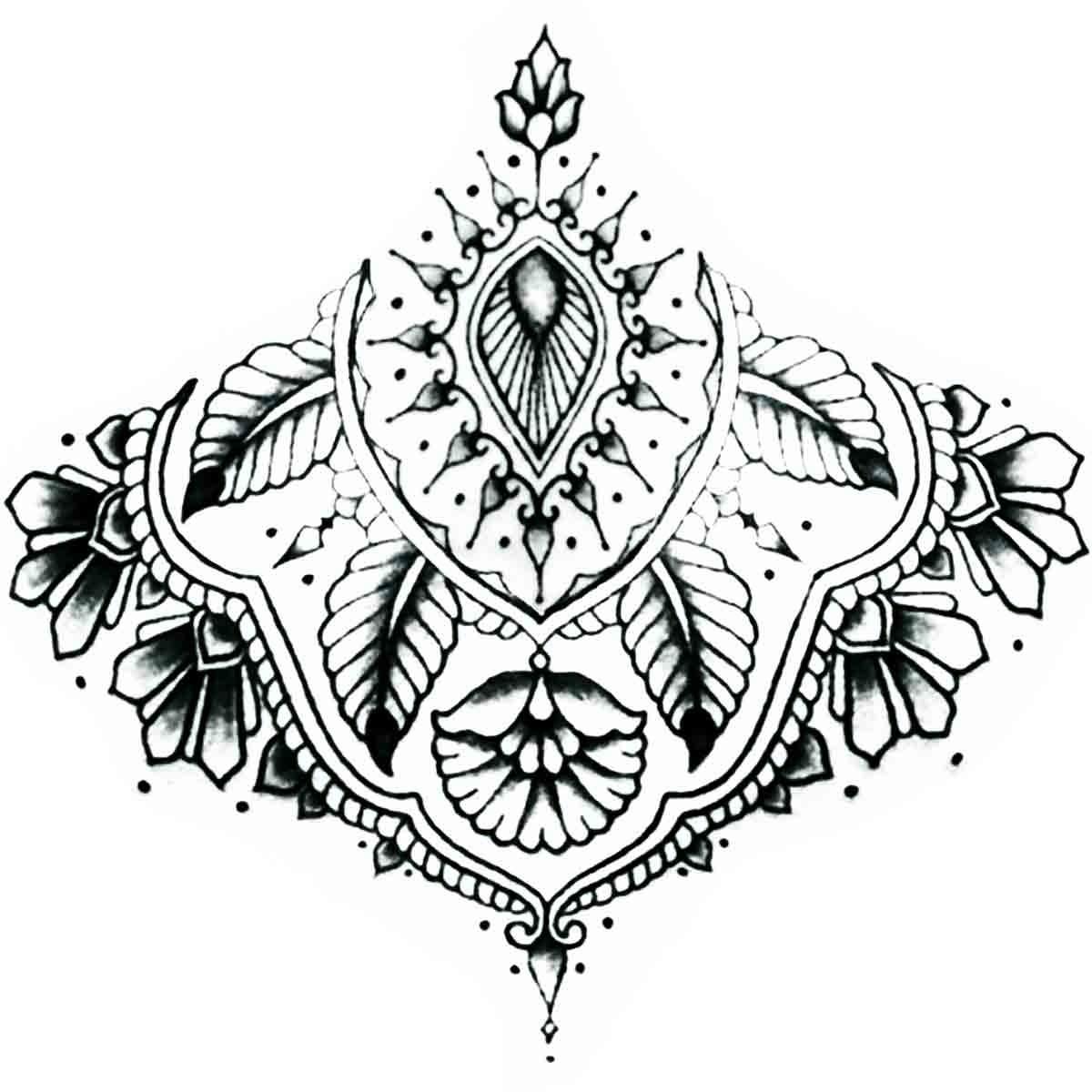Tattoo Temporaire Mandala Sous Poitrine N 4