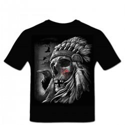 Tshirt Personnalisé Crâne de Chef Indien Corbeau