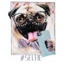 """Tee shirt personnalisé de strass """"Pug Selfie"""""""