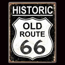 "Plaque Métal Vintage ""Historic Old Road 66"""