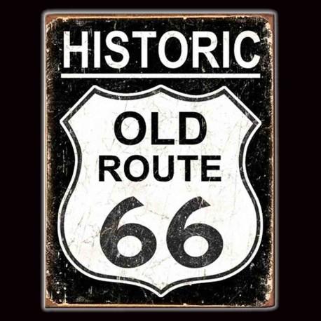 "Plaque Métal Vintage ""Historic Old Road 66"""