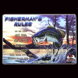 "Plaque Métal Vintage ""Fisherman's Rules"""