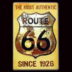 """Plaque Métal Vintage """"The Most Authentic Road 66"""""""