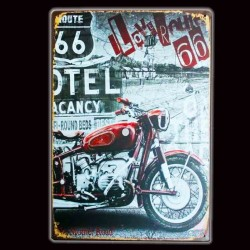 "Plaque Métal Vintage "" I Love Road 66"""