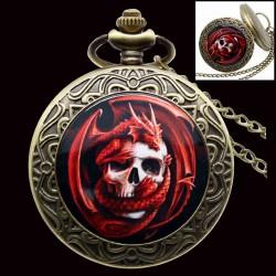 Montre à Gousset Crâne et Dragon rouge