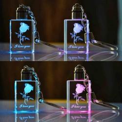 Porte-clés Mini bouteille en cristal LED