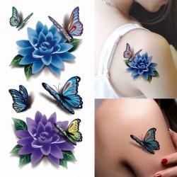 """Tattoo temporaire """"Fleurs bleues et papillons"""""""
