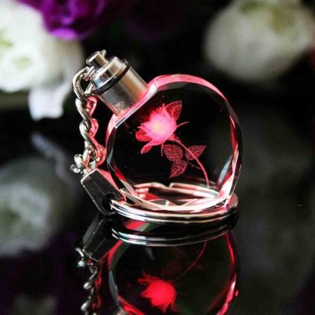 Porte-clés coeur en cristal LED
